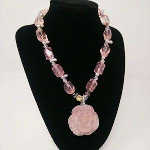 Rose Quartz Gemstone Necklace Hand Carved Flower